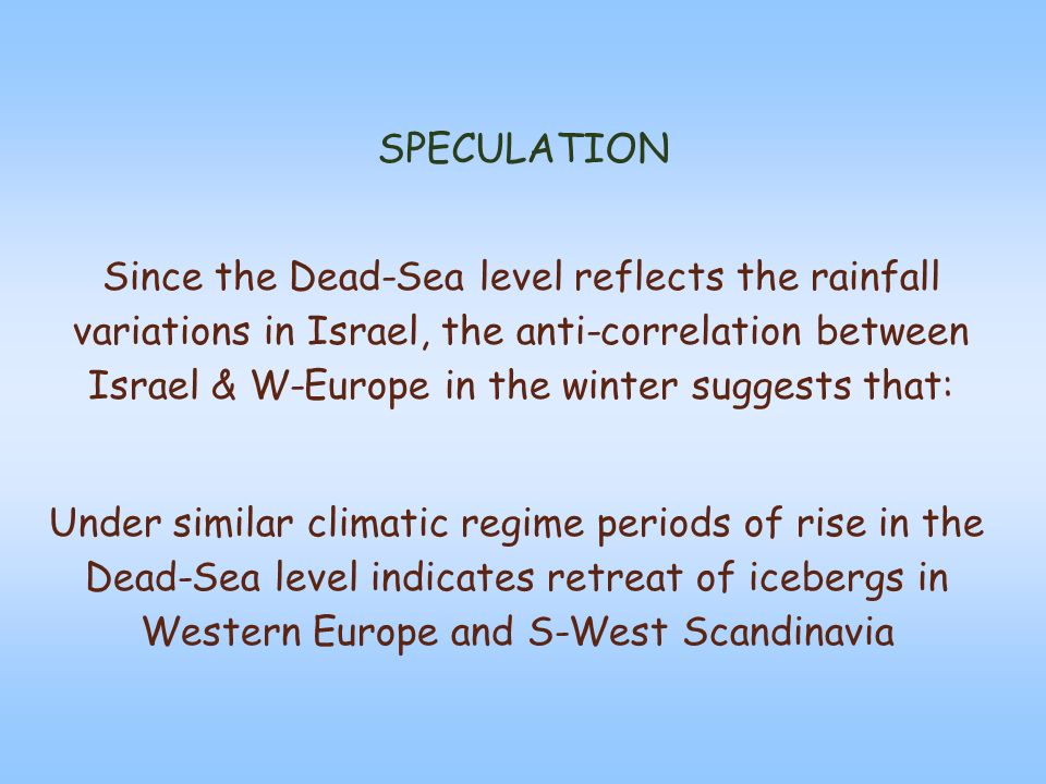 SPECULATION Since the Dead-Sea level reflects the rainfall variations in Israel, the anti-correlation between Israel & W-Europe in the winter suggests that: Under similar climatic regime periods of rise in the Dead-Sea level indicates retreat of icebergs in Western Europe and S-West Scandinavia