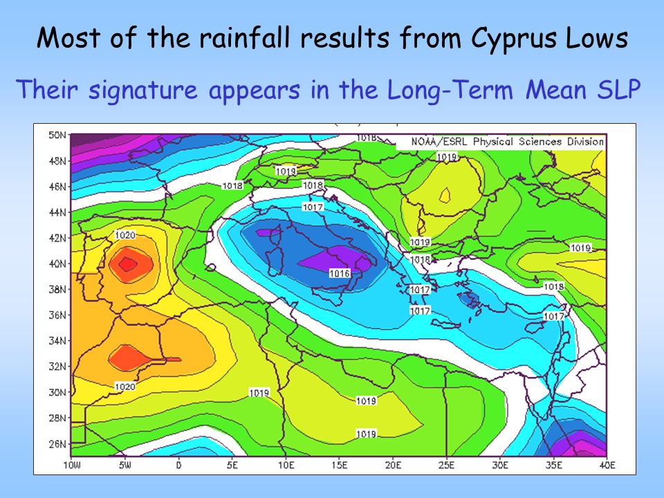 Most of the rainfall results from Cyprus Lows Their signature appears in the Long-Term Mean SLP