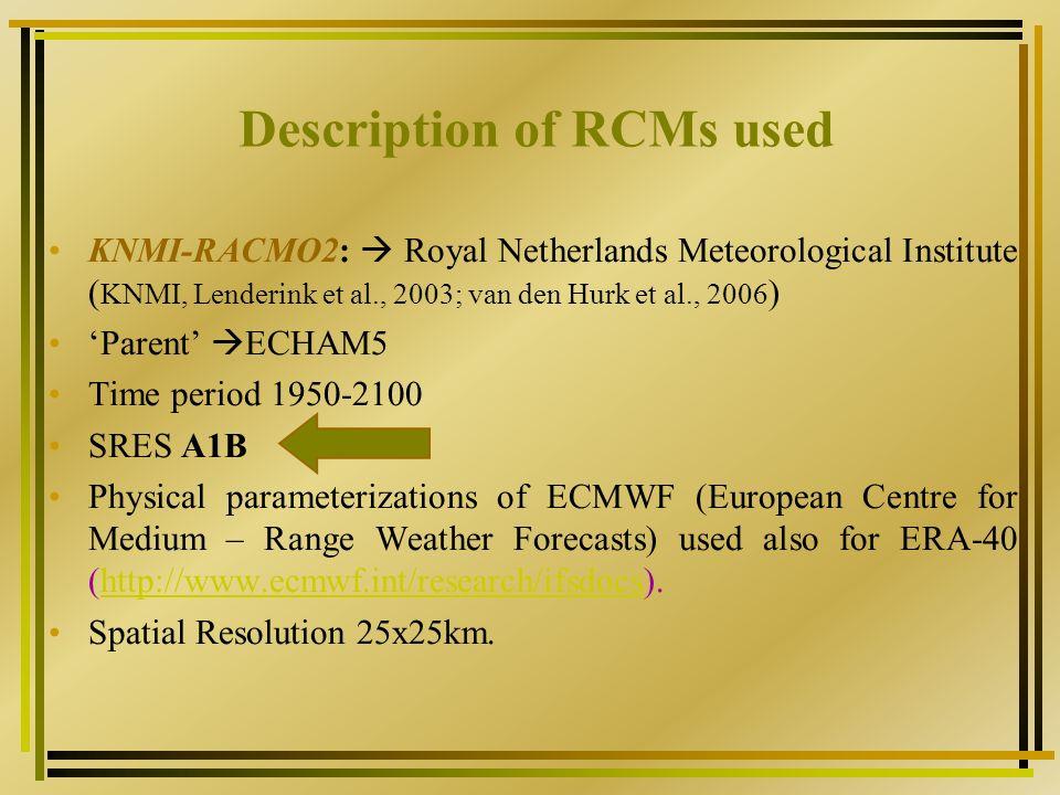 Description of RCMs used C4IRCA3 : Community Climate Change Consortium for Ireland (C4I).