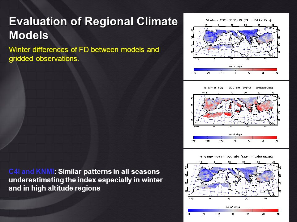 Evaluation of Regional Climate Models Winter differences of FD between models and gridded observations.