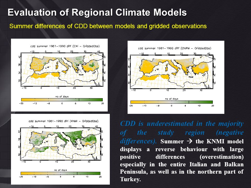 Evaluation of Regional Climate Models Summer differences of CDD between models and gridded observations CDD is underestimated in the majority of the study region (negative differences).