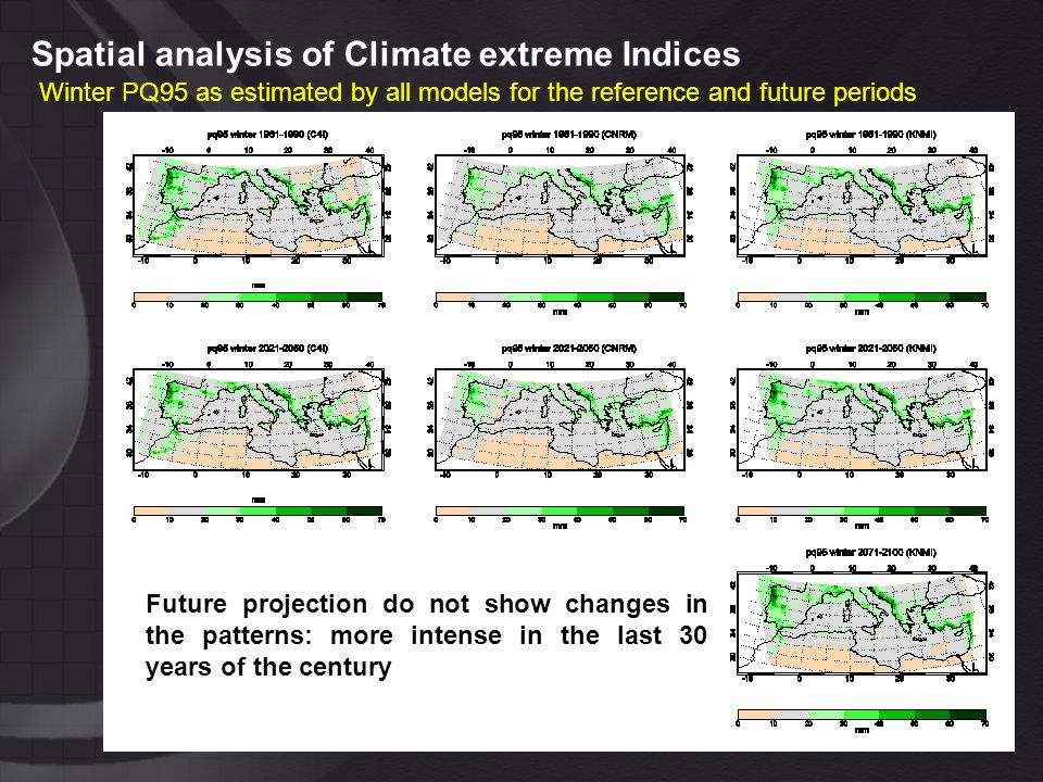Spatial analysis of Climate extreme Indices Winter PQ95 as estimated by all models for the reference and future periods Future projection do not show changes in the patterns: more intense in the last 30 years of the century