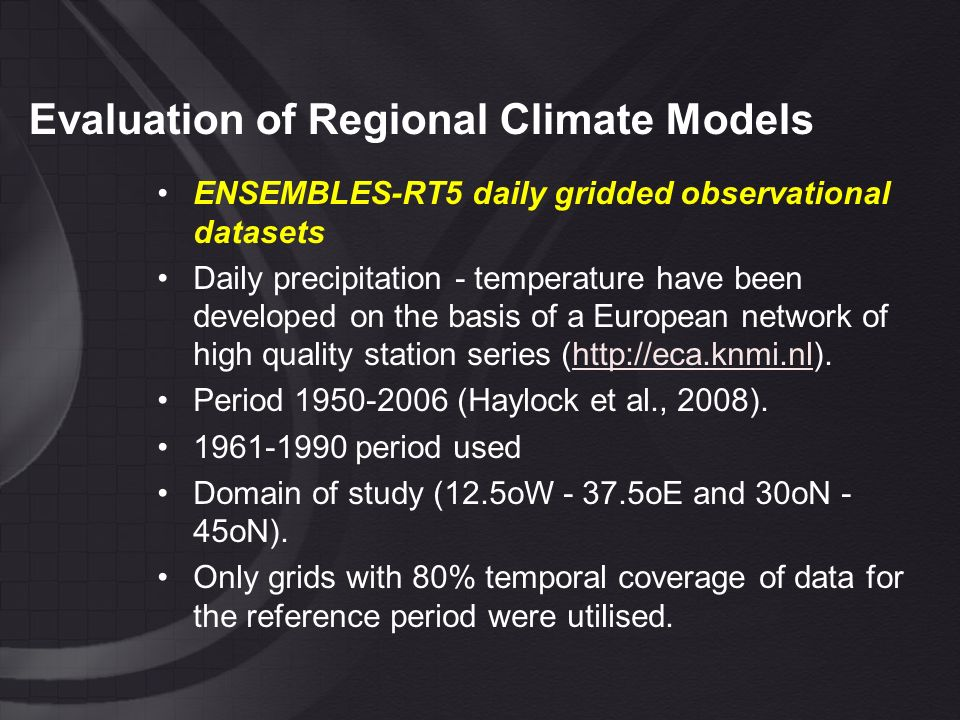 Evaluation of Regional Climate Models Grids with 80% temporal coverage of temperature (a) and precipitation (b) data for the 1961-1990 reference period.