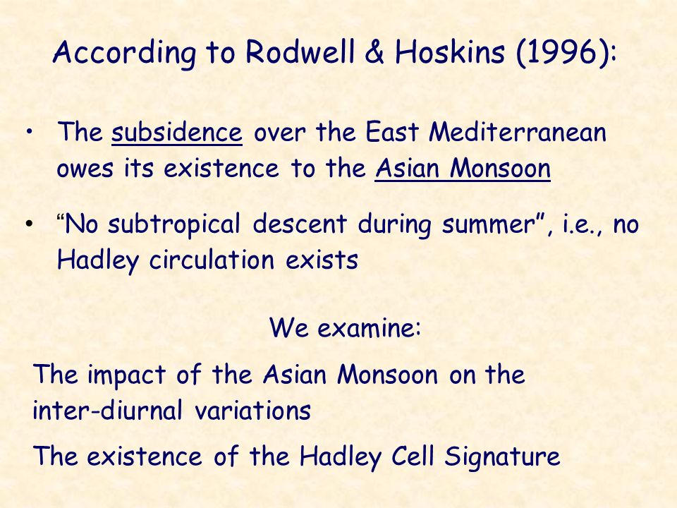 According to Rodwell & Hoskins (1996): The subsidence over the East Mediterranean owes its existence to the Asian Monsoon No subtropical descent durin