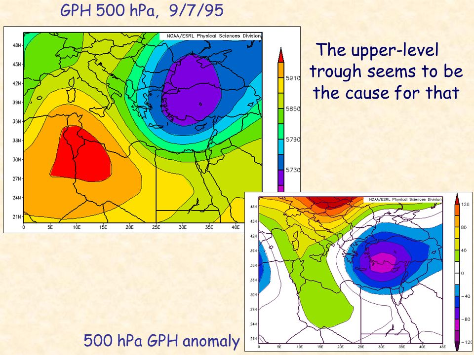GPH 500 hPa, 9/7/95 500 hPa GPH anomaly The upper-level trough seems to be the cause for that -8