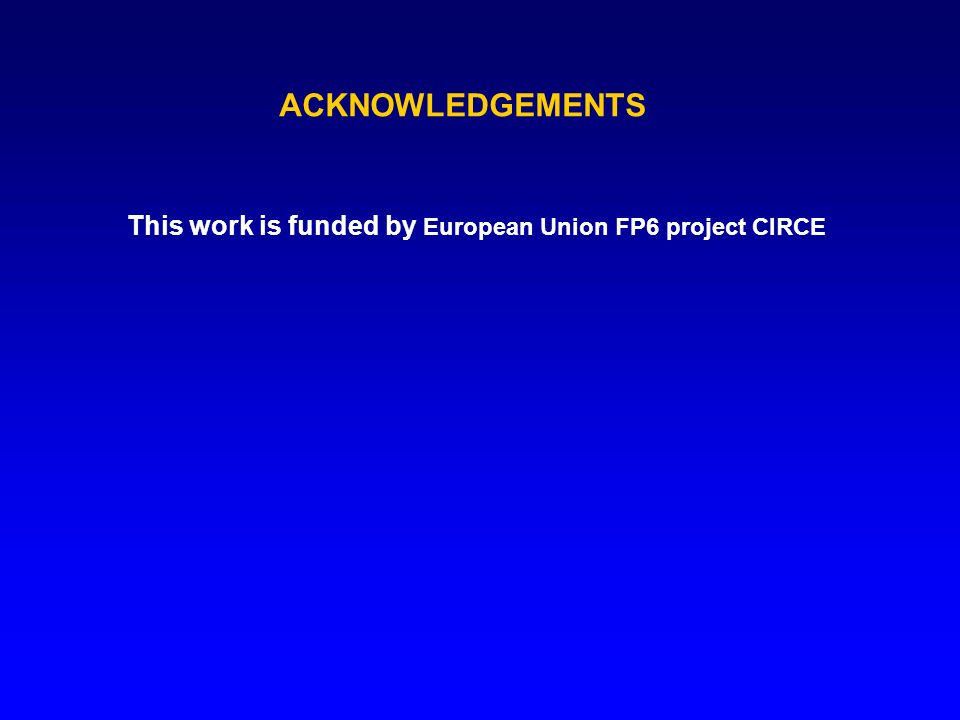 This work is funded by European Union FP6 project CIRCE ACKNOWLEDGEMENTS
