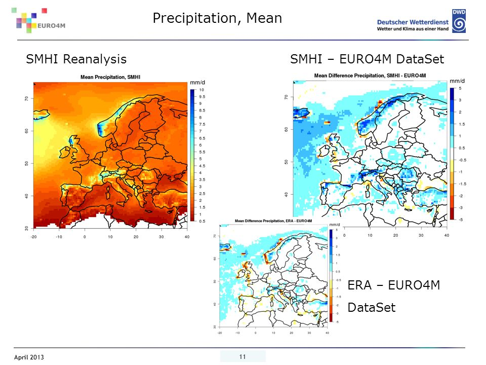 April 2013 11 SMHI – EURO4M DataSet Precipitation, Mean SMHI Reanalysis ERA – EURO4M DataSet
