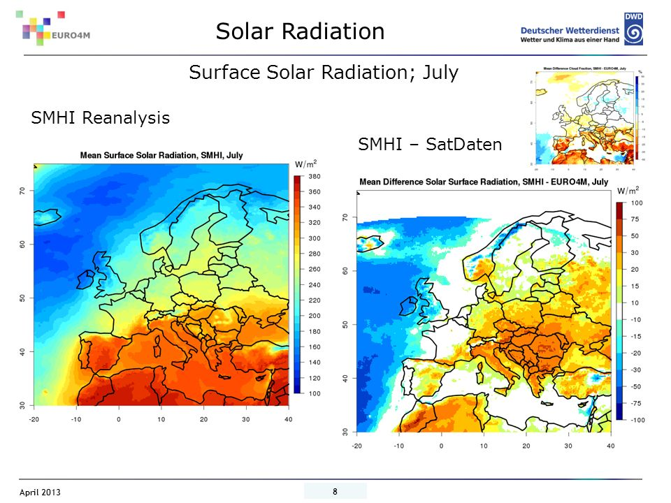 April 2013 9 SMHI Reanalyse ERA-I – SatDaten Surface Solar Radiation; July ERA-Interim