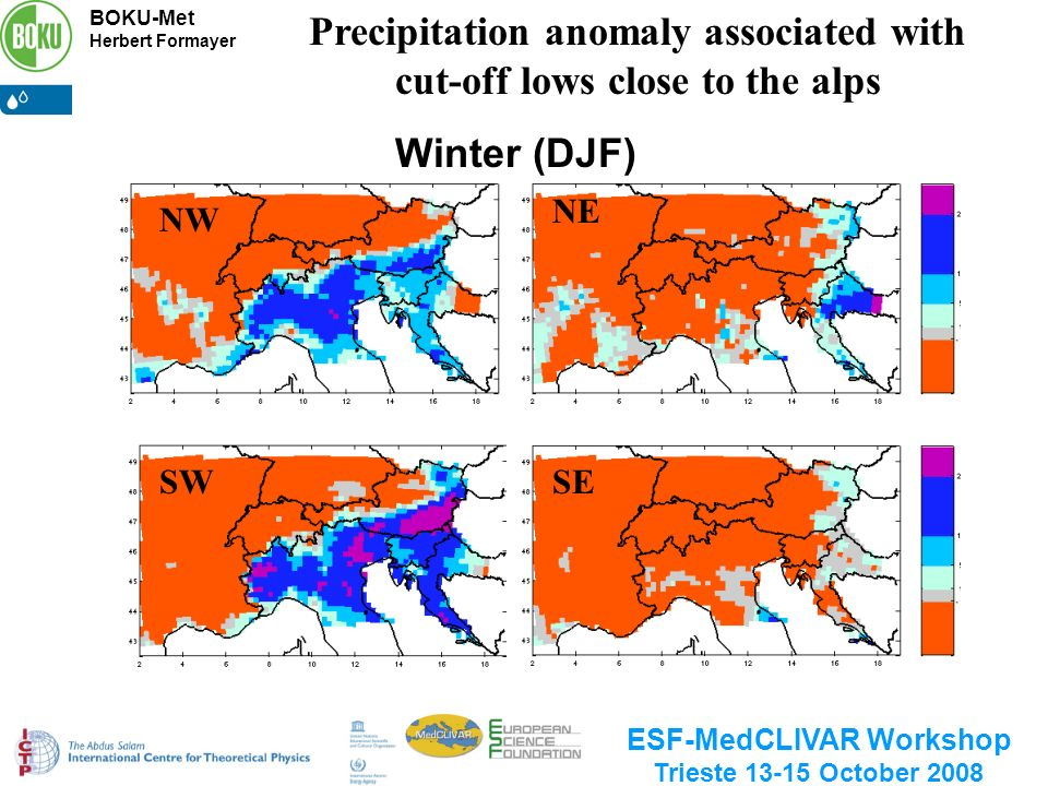 BOKU-Met Herbert Formayer ESF-MedCLIVAR Workshop Trieste 13-15 October 2008 Winter (DJF) NW NE SESW Precipitation anomaly associated with cut-off lows close to the alps