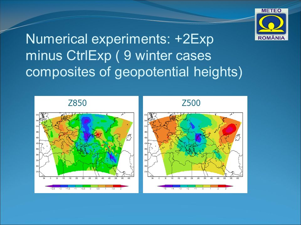Numerical experiments: +2Exp minus CtrlExp ( 9 winter cases composites of geopotential heights) Z850Z500