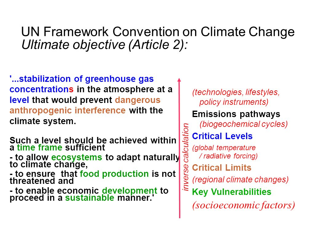 UN Framework Convention on Climate Change Ultimate objective (Article 2): '...stabilization of greenhouse gas concentrations in the atmosphere at a le