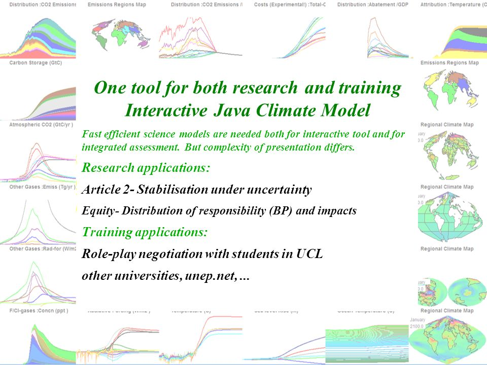 One tool for both research and training Interactive Java Climate Model Fast efficient science models are needed both for interactive tool and for inte