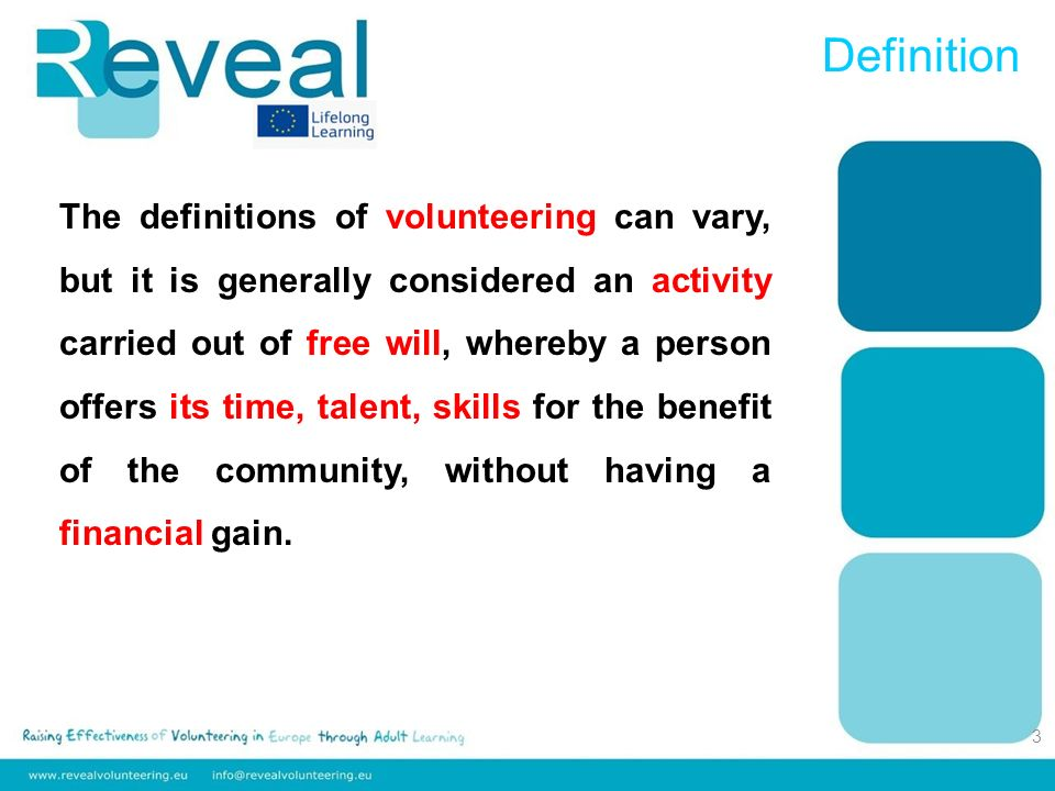 Some of the necessary abilities of working with volunteers (adapted from Ellis, 1996): The ability to speak freely and deliver public presentation in an easy way; Familiarity with the potential resources form the community; Good abilities to analyze tasks and responsibilities because the work needs to be divided into tasks that are small enough to be distributed to volunteers; Volunteer coordinator
