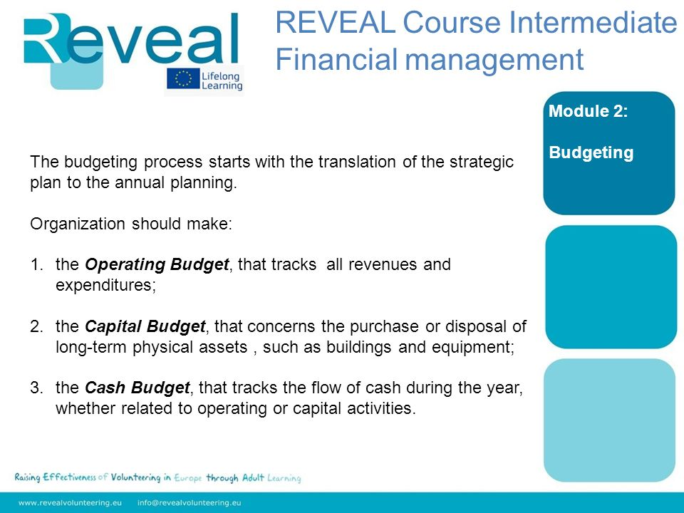 Module 2: Budgeting The budgeting process starts with the translation of the strategic plan to the annual planning.