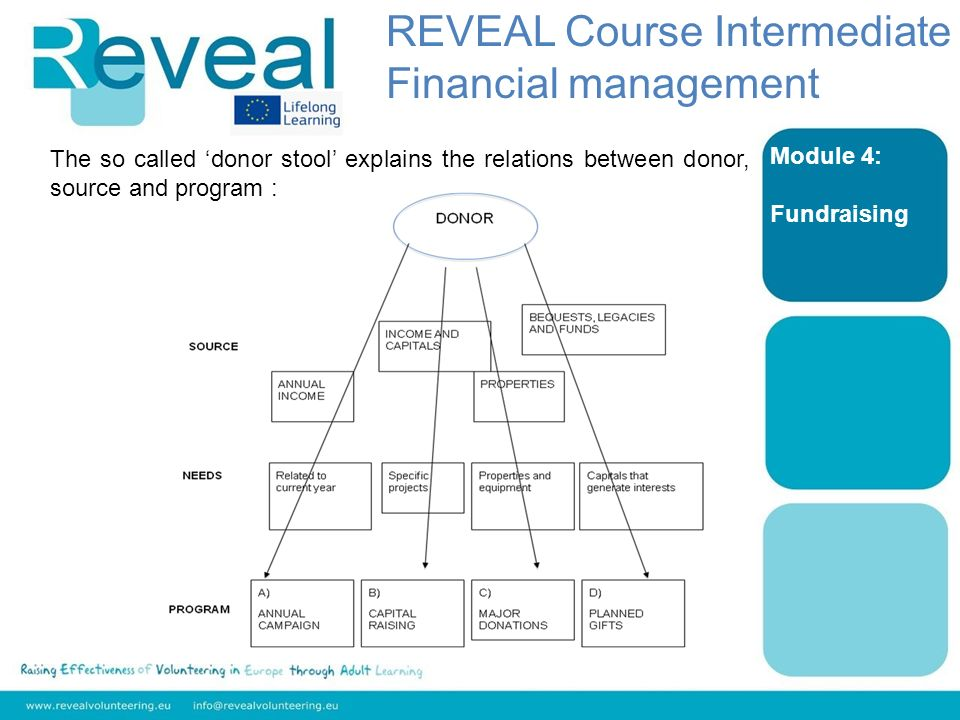 Module 4: Fundraising The so called donor stool explains the relations between donor, source and program : REVEAL Course Intermediate Financial management
