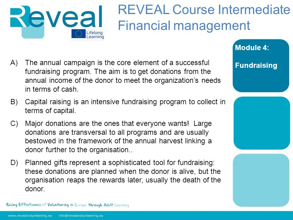 Module 4: Fundraising A)The annual campaign is the core element of a successful fundraising program.