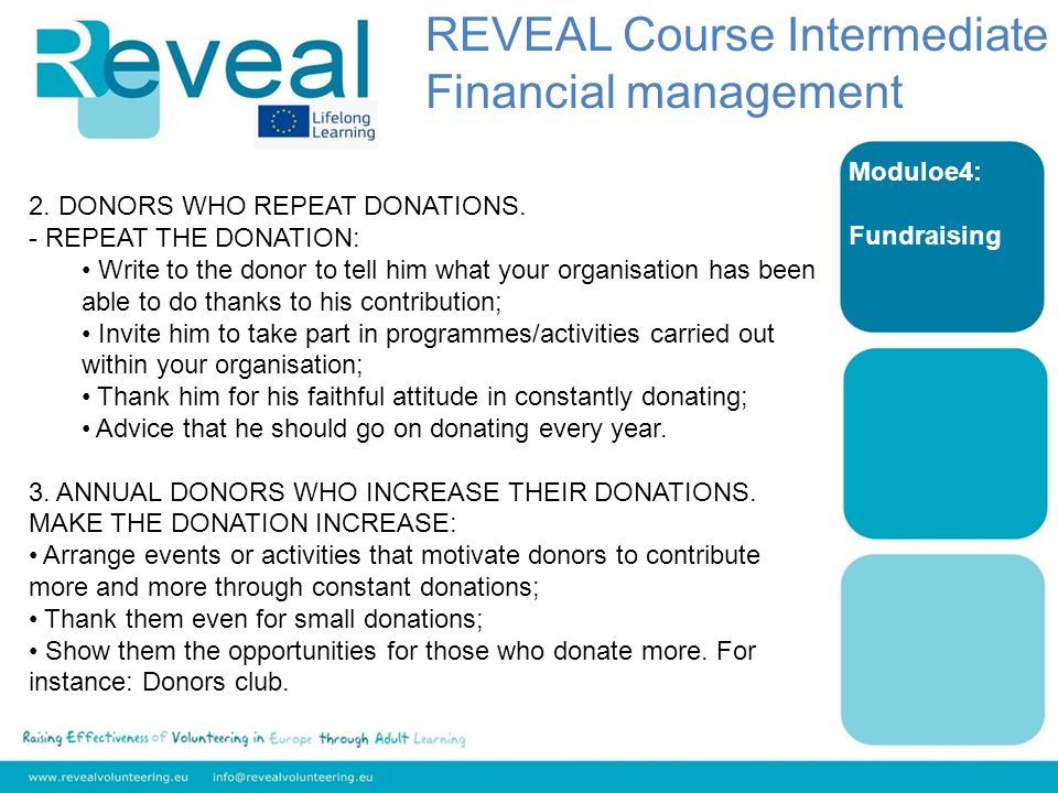 Moduloe4: Fundraising 2. DONORS WHO REPEAT DONATIONS.
