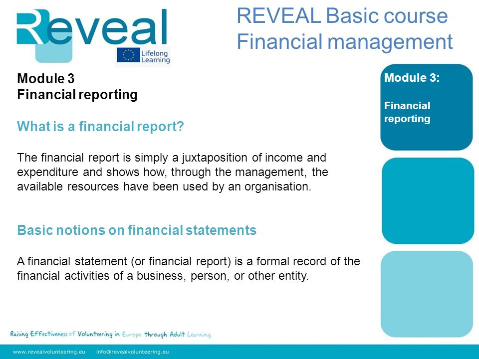 Module 3: Financial reporting REVEAL Basic course Financial management Module 3 Financial reporting What is a financial report.