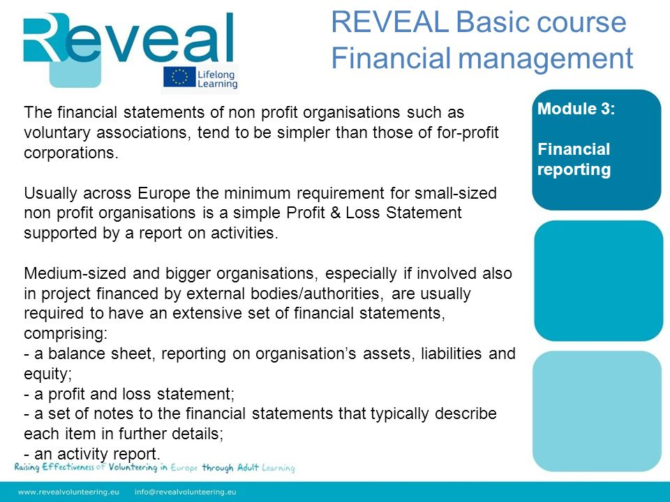 Module 3: Financial reporting REVEAL Basic course Financial management The financial statements of non profit organisations such as voluntary associations, tend to be simpler than those of for-profit corporations.