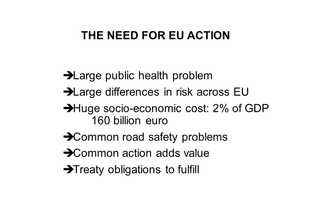 Large public health problem Large differences in risk across EU Huge socio-economic cost: 2% of GDP 160 billion euro Common road safety problems Common action adds value Treaty obligations to fulfill THE NEED FOR EU ACTION