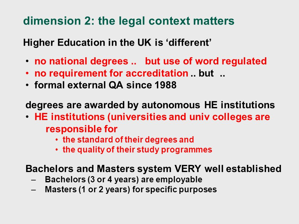 dimension 2: the legal context matters Higher Education in the UK is different no national degrees..