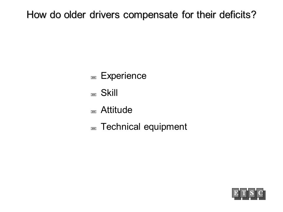 How do older drivers compensate for their deficits Experience Skill Attitude Technical equipment