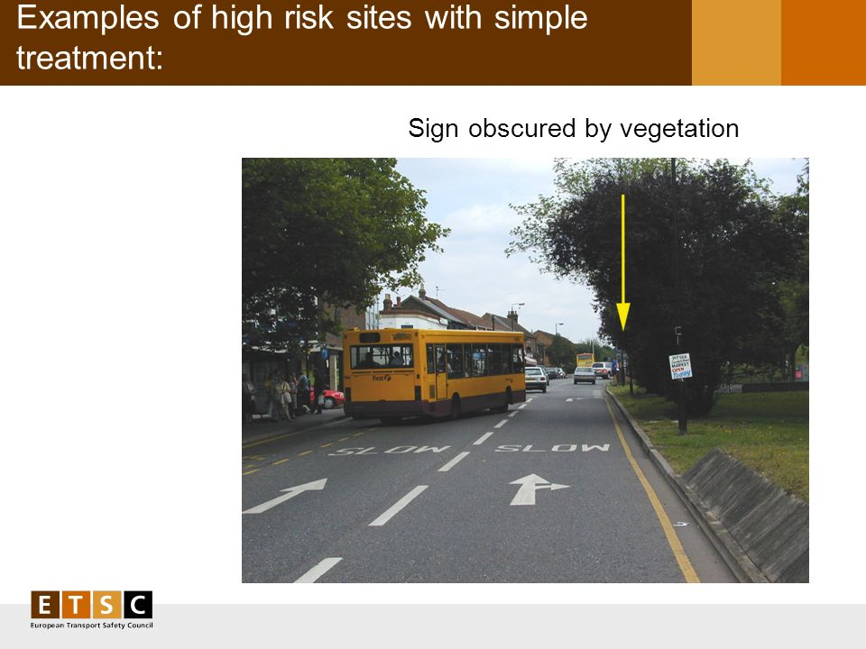 Examples of high risk sites with simple treatment: Sign obscured by vegetation