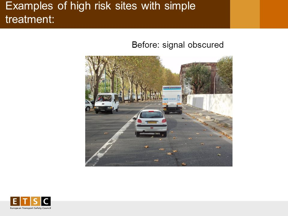 Examples of high risk sites with simple treatment: Before: signal obscured