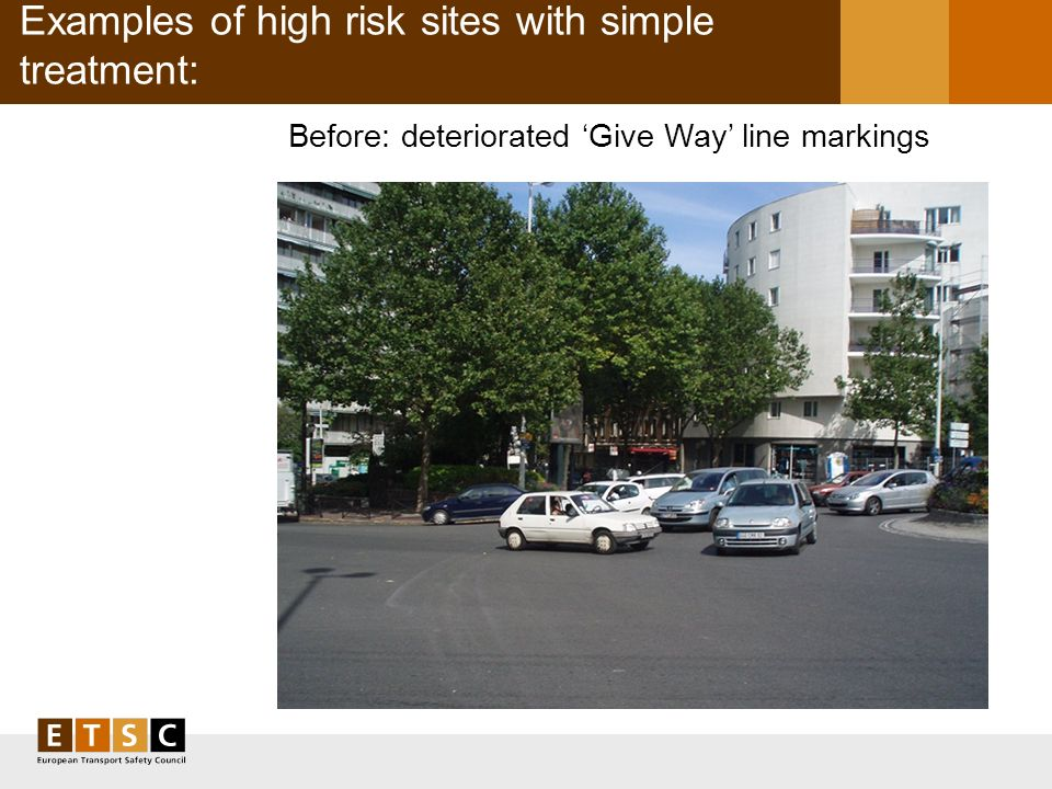 Examples of high risk sites with simple treatment: Before: deteriorated Give Way line markings