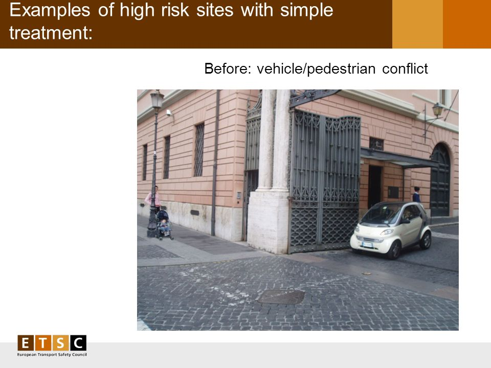 Examples of high risk sites with simple treatment: Before: vehicle/pedestrian conflict