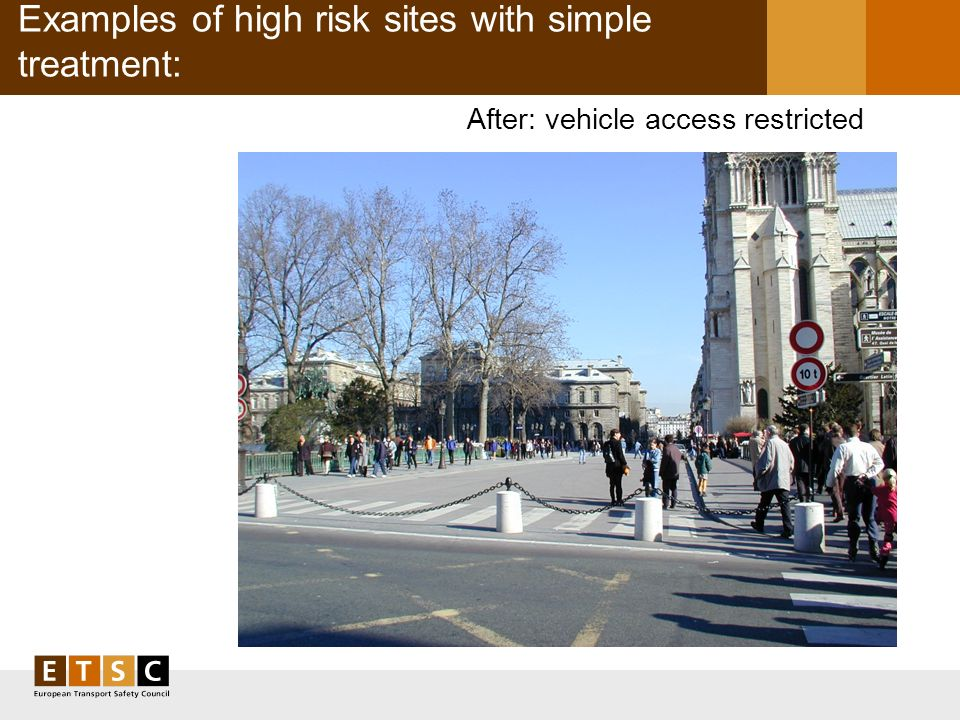 Examples of high risk sites with simple treatment: After: vehicle access restricted