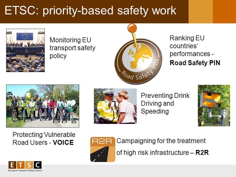 ETSC: priority-based safety work ETSC: Priority-based safety work Monitoring EU transport safety policy Protecting Vulnerable Road Users - VOICE Ranking EU countries performances - Road Safety PIN Preventing Drink Driving and Speeding Campaigning for the treatment of high risk infrastructure – R2R