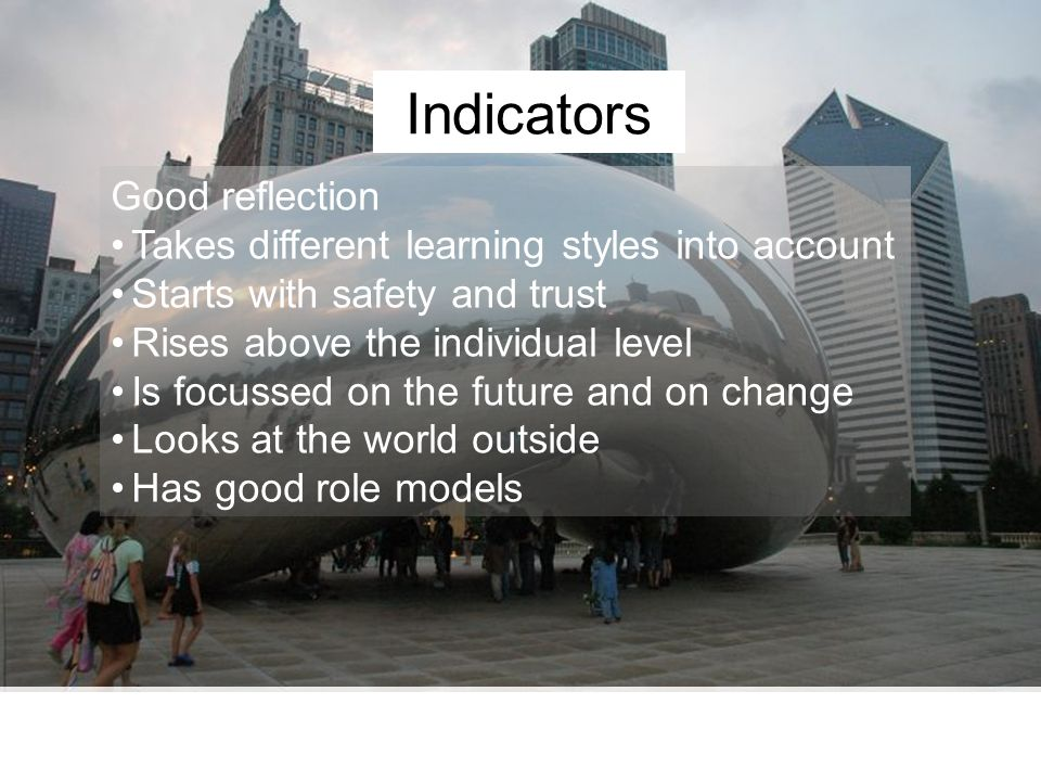 Indicators Good reflection Takes different learning styles into account Starts with safety and trust Rises above the individual level Is focussed on the future and on change Looks at the world outside Has good role models