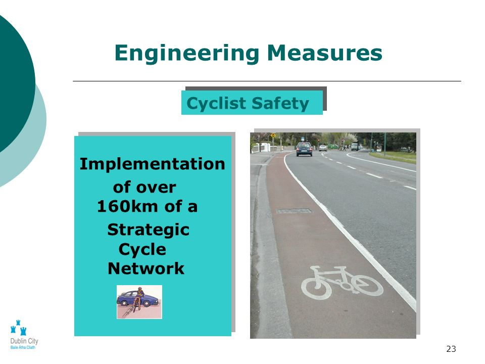 23 Implementation of over 160km of a Strategic Cycle Network Implementation of over 160km of a Strategic Cycle Network Engineering Measures Cyclist Sa