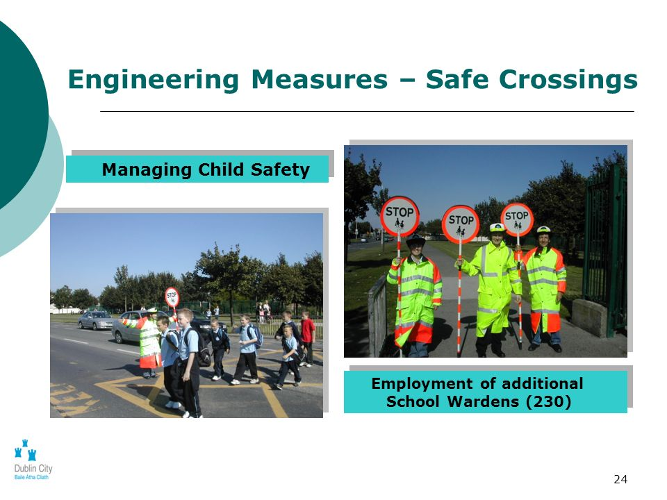 24 Managing Child Safety Employment of additional School Wardens (230) Engineering Measures – Safe Crossings