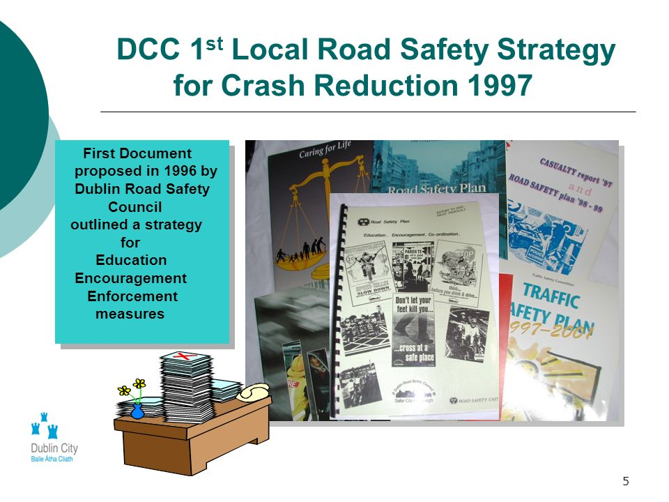 5 DCC 1 st Local Road Safety Strategy for Crash Reduction 1997 First Document proposed in 1996 by Dublin Road Safety Council outlined a strategy for E