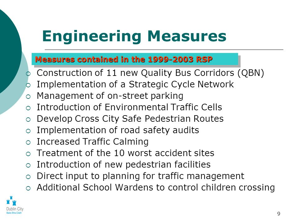9 Construction of 11 new Quality Bus Corridors (QBN) Implementation of a Strategic Cycle Network Management of on-street parking Introduction of Envir