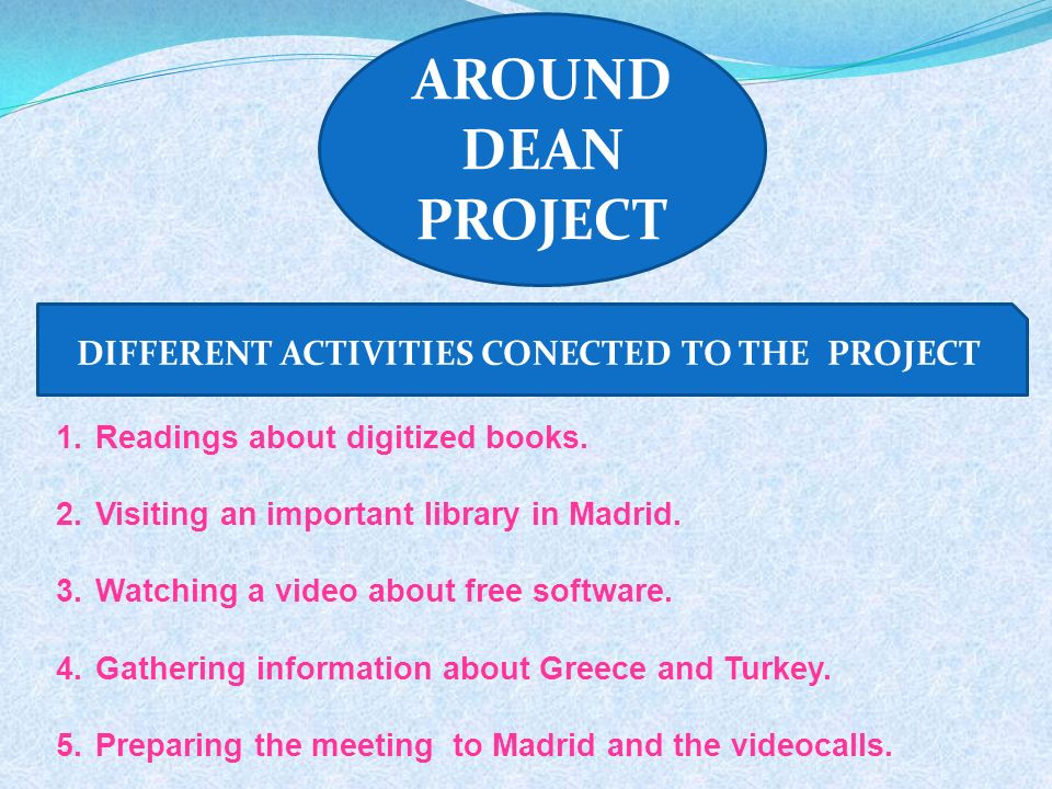 AROUND DEAN PROJECT DIFFERENT ACTIVITIES CONECTED TO THE PROJECT 1.Readings about digitized books. 2.Visiting an important library in Madrid. 3.Watchi