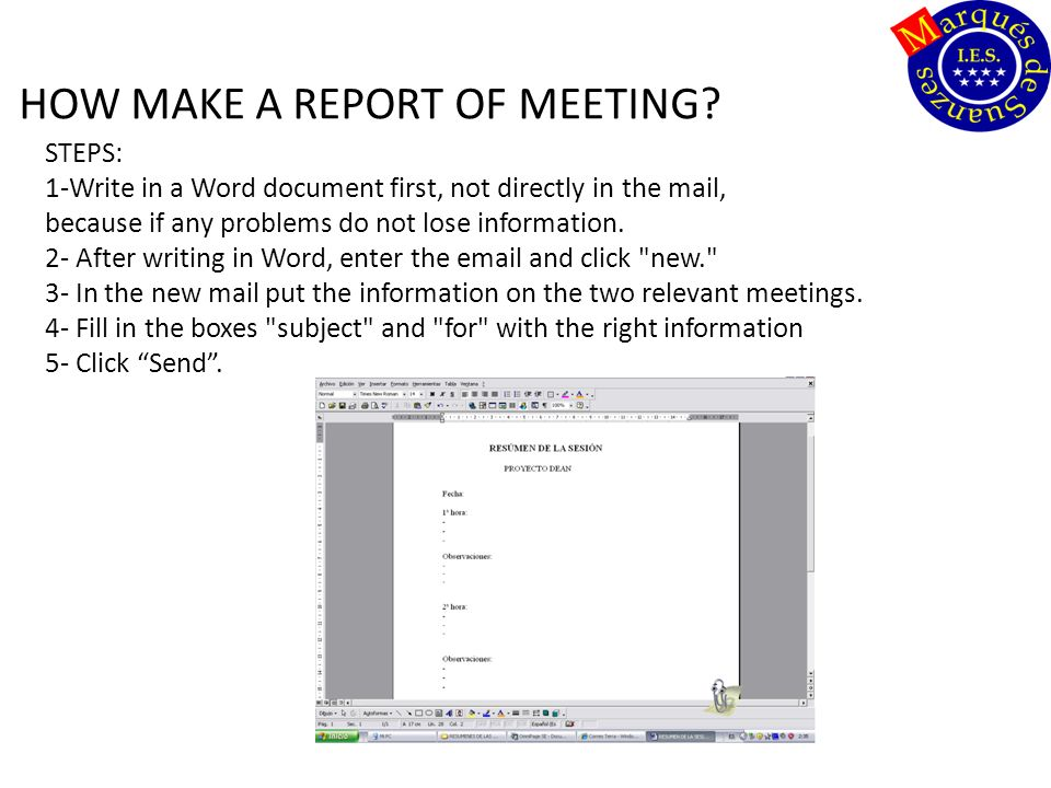 HOW MAKE A REPORT OF MEETING.