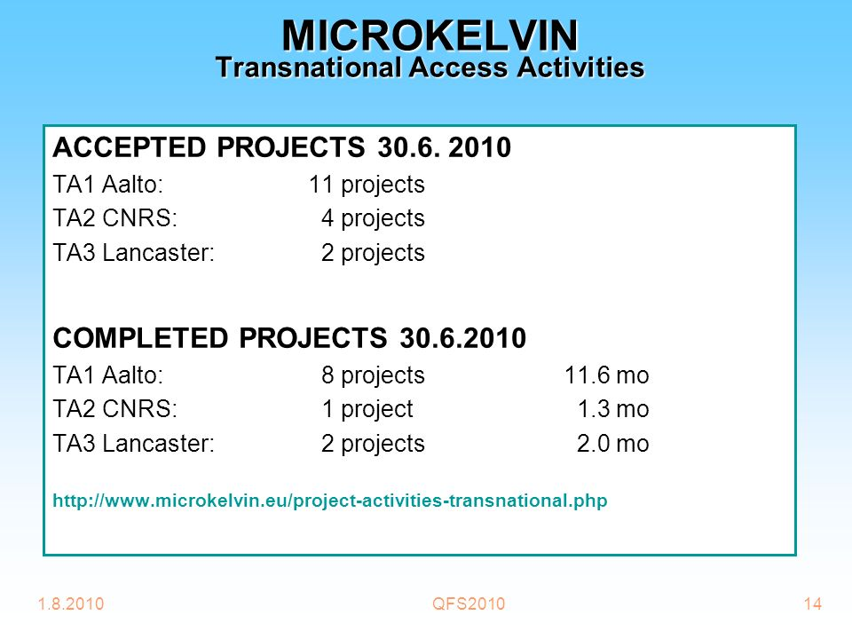 1.8.2010QFS201014 MICROKELVIN Transnational Access Activities ACCEPTED PROJECTS 30.6.