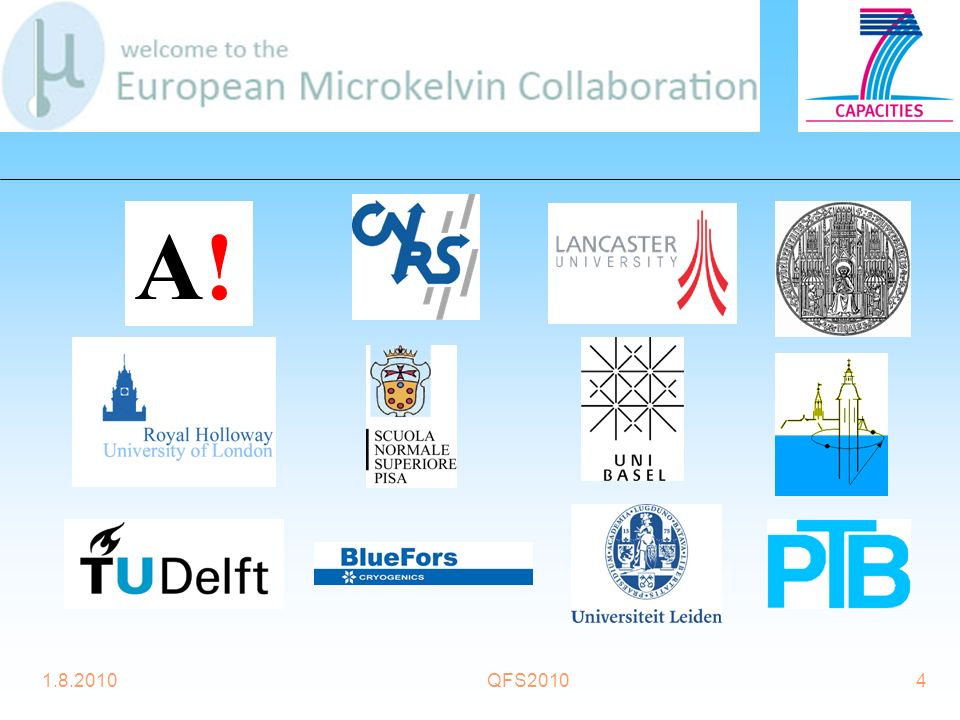 1.8.2010QFS201015 Joint Research Activity 2 (JRA2) Ultralow temperature nanorefrigerator AALTO, CNRS, RHUL, SNS, BASEL, DELFT Activity leader: Professor Jukka Pekola Objectives 1.