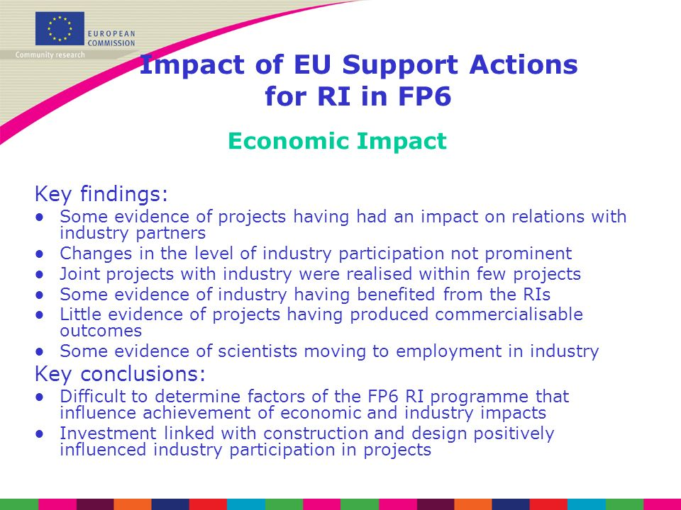 Impact of EU Support Actions for RI in FP6 Economic Impact Key findings: Some evidence of projects having had an impact on relations with industry partners Changes in the level of industry participation not prominent Joint projects with industry were realised within few projects Some evidence of industry having benefited from the RIs Little evidence of projects having produced commercialisable outcomes Some evidence of scientists moving to employment in industry Key conclusions: Difficult to determine factors of the FP6 RI programme that influence achievement of economic and industry impacts Investment linked with construction and design positively influenced industry participation in projects