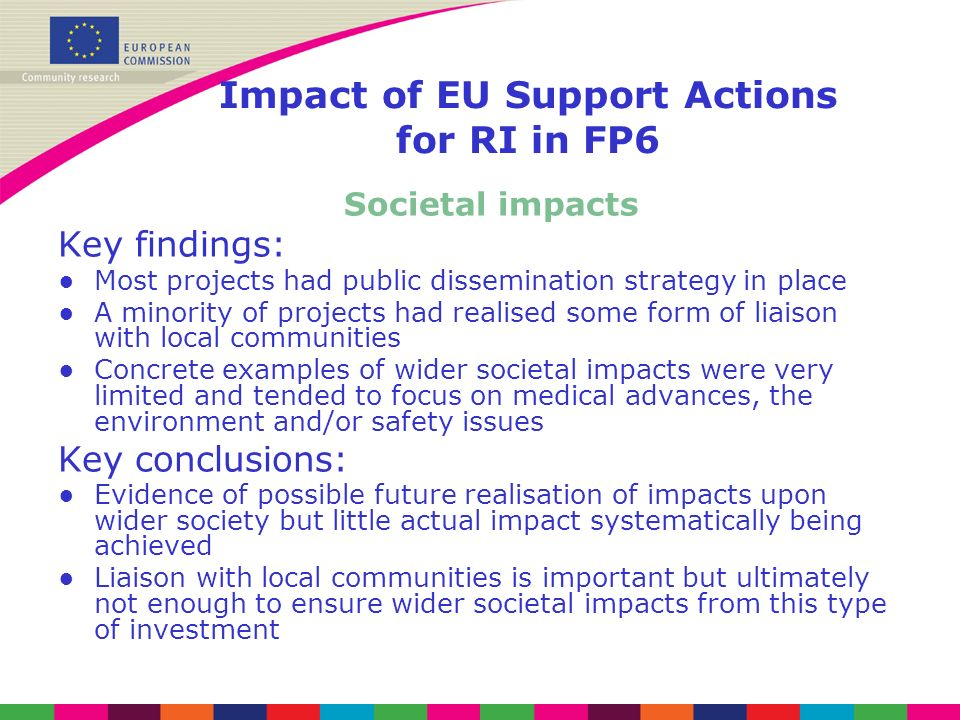 Impact of EU Support Actions for RI in FP6 Societal impacts Key findings: Most projects had public dissemination strategy in place A minority of proje