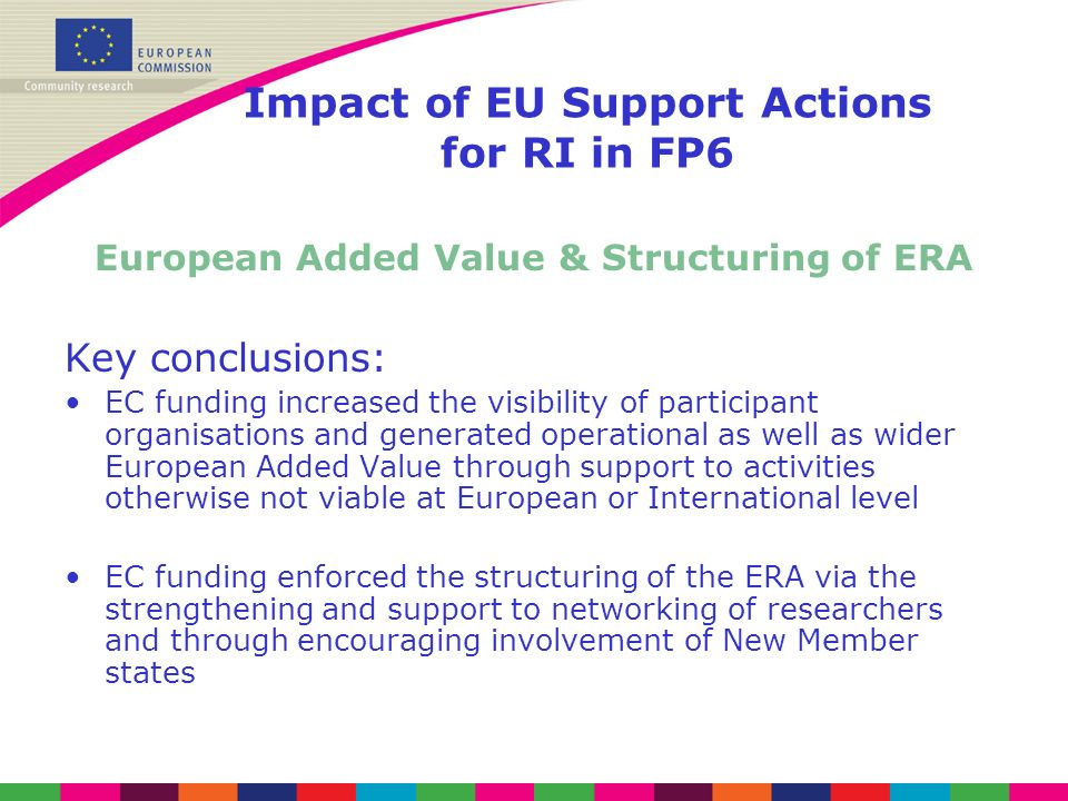 Impact of EU Support Actions for RI in FP6 European Added Value & Structuring of ERA Key conclusions: EC funding increased the visibility of participant organisations and generated operational as well as wider European Added Value through support to activities otherwise not viable at European or International level EC funding enforced the structuring of the ERA via the strengthening and support to networking of researchers and through encouraging involvement of New Member states