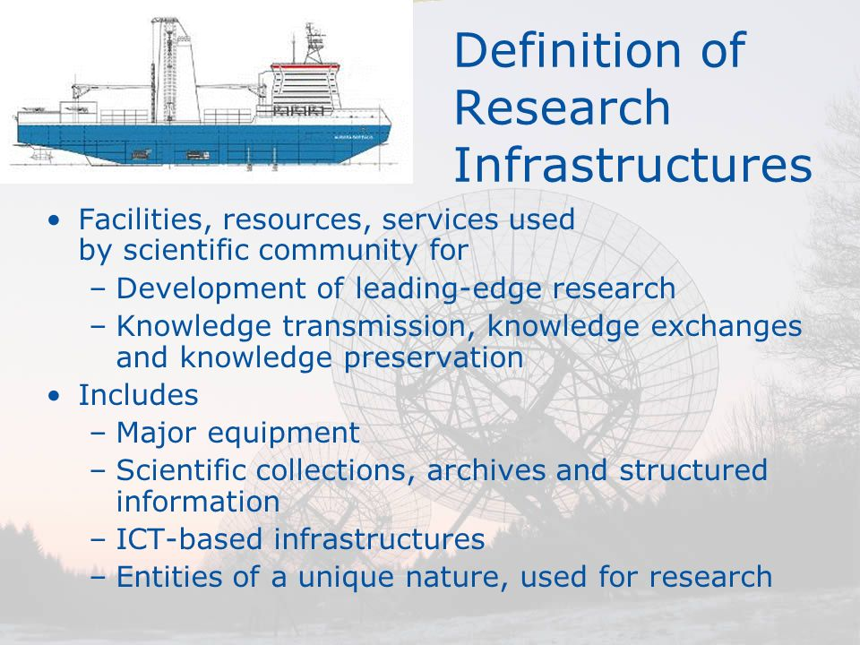 Definition of Research Infrastructures Facilities, resources, services used by scientific community for –Development of leading-edge research –Knowled
