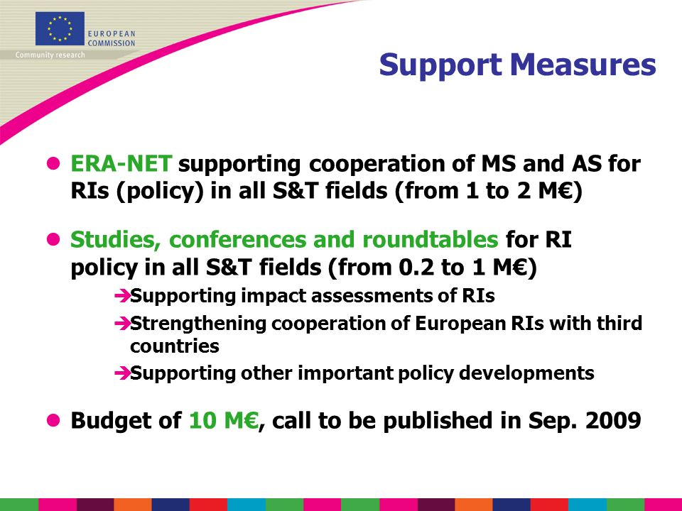Support Measures lERA-NET supporting cooperation of MS and AS for RIs (policy) in all S&T fields (from 1 to 2 M) lStudies, conferences and roundtables for RI policy in all S&T fields (from 0.2 to 1 M) èSupporting impact assessments of RIs èStrengthening cooperation of European RIs with third countries èSupporting other important policy developments lBudget of 10 M, call to be published in Sep.