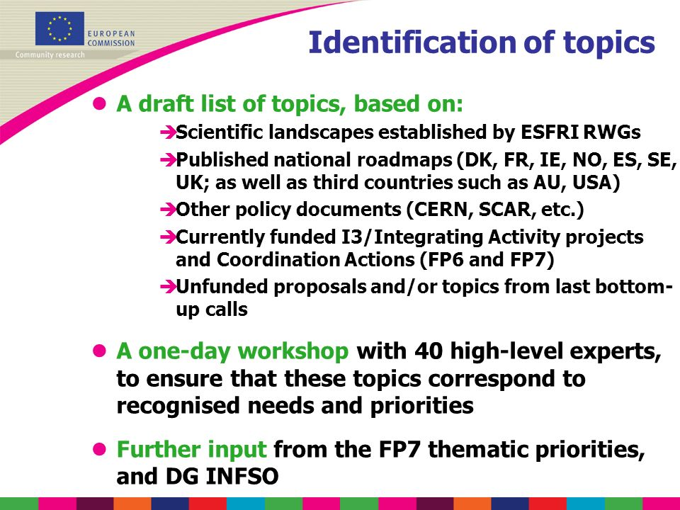 Identification of topics lA draft list of topics, based on: èScientific landscapes established by ESFRI RWGs èPublished national roadmaps (DK, FR, IE,