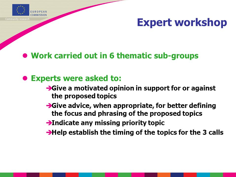 Expert workshop lWork carried out in 6 thematic sub-groups lExperts were asked to: èGive a motivated opinion in support for or against the proposed topics èGive advice, when appropriate, for better defining the focus and phrasing of the proposed topics èIndicate any missing priority topic èHelp establish the timing of the topics for the 3 calls