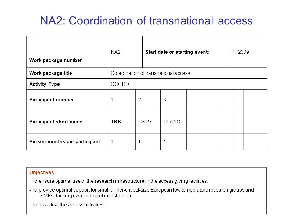NA2: Coordination of transnational access Objectives : - To ensure optimal use of the research infrastructure in the access giving facilities.