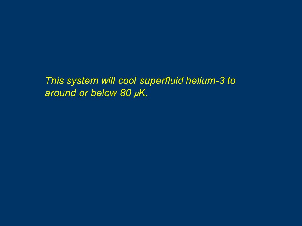 This system will cool superfluid helium-3 to around or below 80 K.